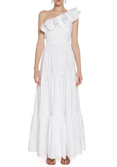 Amotea lungo abito bianco Leonor front