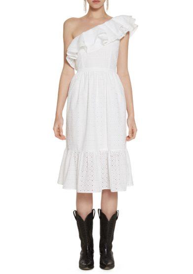 Mini abito bianco Amotea sangallo Leonor front