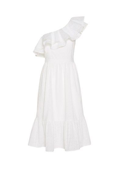 Amotea Leonor mini abito bianco sangallo monospalla