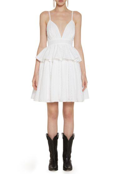 bianco mini abito sangallo balza Amotea