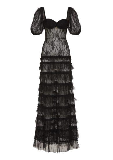 Amotea vestito Francis tulle pizzo nero