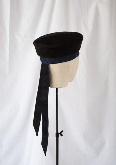 Anperfect cappello basco cerata seta e cotone nero