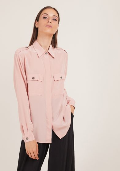 Chiara bloom camicia in seta rosa camelia urban safari