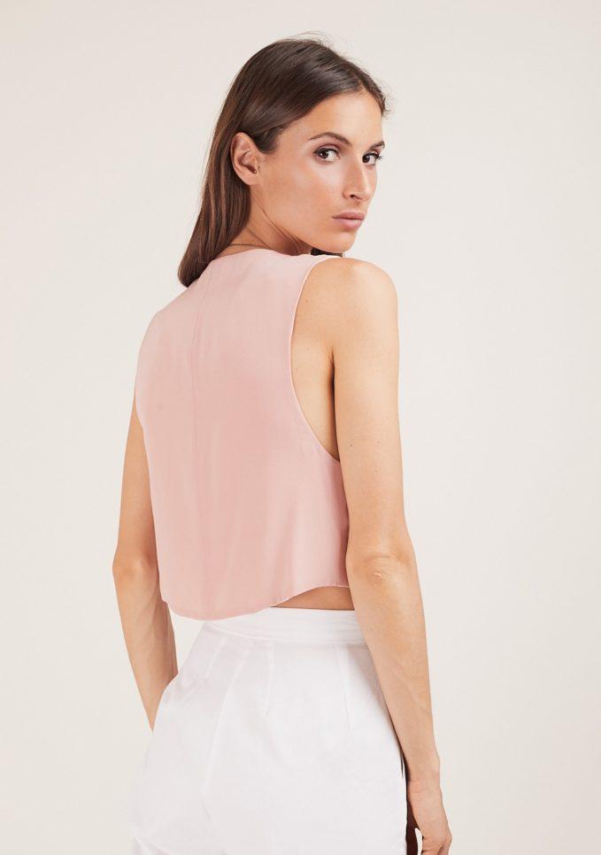 Chiara bloom gilet rosa seta