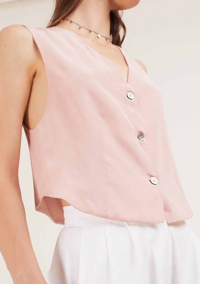 gilet seta rosa chiara bloom
