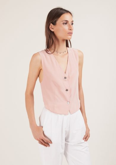 Gilet chiara bloom rosa in seta