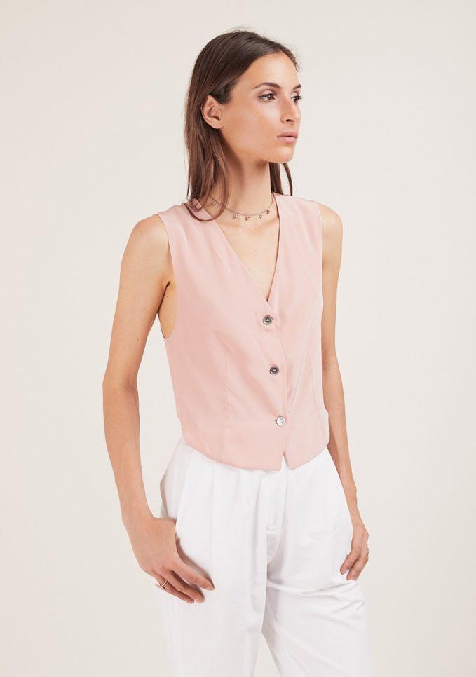 Gilet chiara bloom rosa in seta