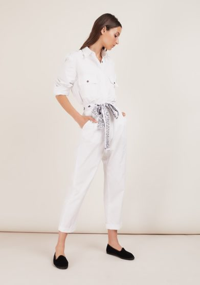 Chiara bloom perfect pants pantalone bianco in cotone a sigaretta
