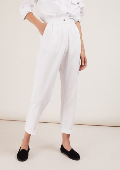 perfect pants pantalone bianco in cotone a sigaretta chiara bloom