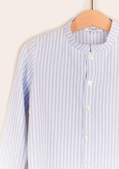 Estelle milano camicia bambino coreana righe azzurre