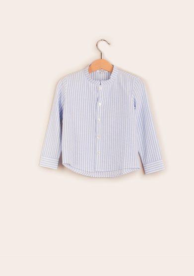 camicia bambino coreana righe azzurre estelle milano
