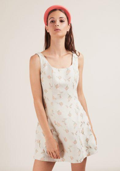abito corto noemi in broccato floreale gioia bini