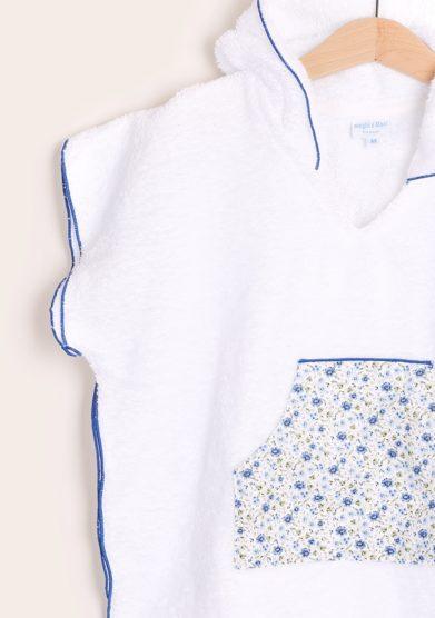 accappatoio poncho con tasca marsupio fantasia fiori azzurri maghi e maci