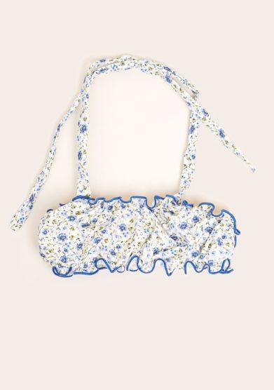 Maghi e maci top bimba stampa fiorellini azzurri