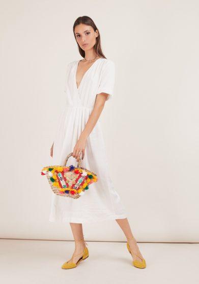 abito bianca viscosa bianco midi odette florence