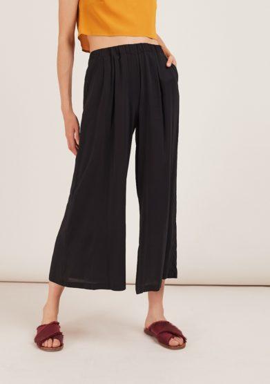 pantaloni brick in seta neri con elastico odette florence