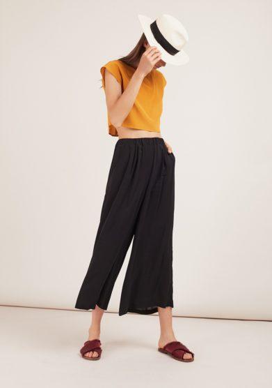 Odette florence pantaloni brick in seta neri con elastico