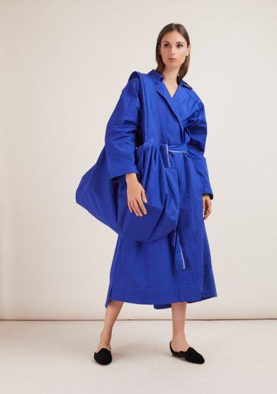 Qollezione borsa grande in cotone blu elettrico the bulbous blue