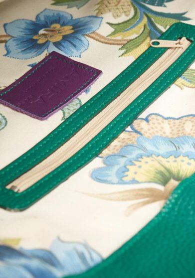 Amira Bags borsa tote verde interno cotone floreale