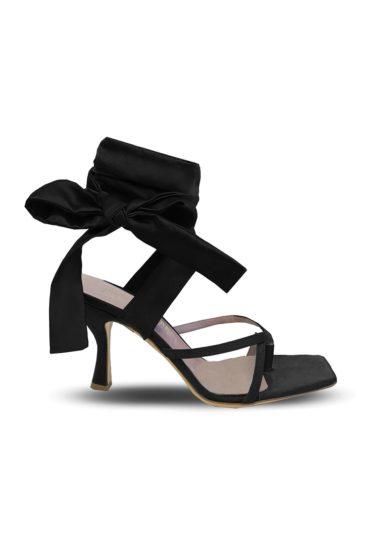 Gia Couture Kandice Bis sandali neri allacciati caviglia tacco medio