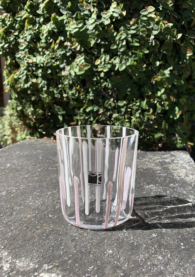 Bicchieri collezione Murano Carlo Moretti modello Bora bianco beige righe