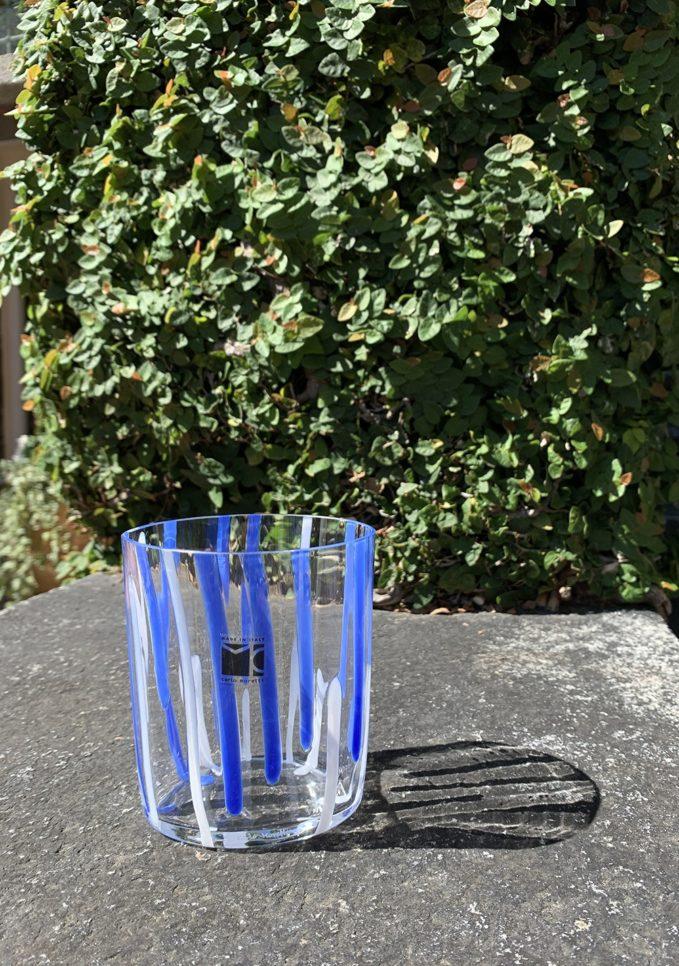 Bicchieri collezione Murano Carlo Moretti modello Bora blu e bianco striati