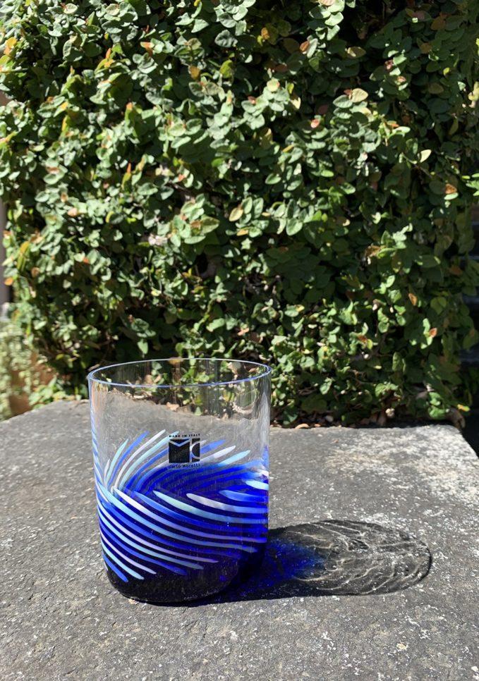 Bicchieri collezione Murano Carlo Moretti modello Bora blu spirale