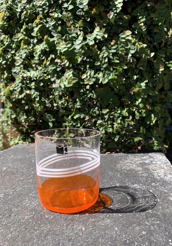 Bicchieri collezione Murano Carlo Moretti modello Bora base arancio e bianco