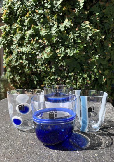 Grand hotel tremezzo Bicchieri Collezione Murano Carlo Moretti modello Diversi azzurri