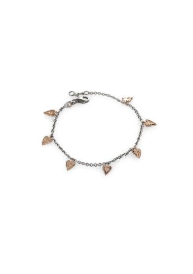 Otto Jewels bracciale oro sette cuori ciondoli
