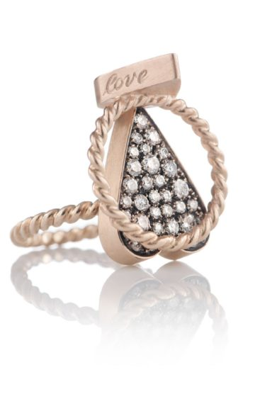 anello cuore maxi oro e diamanti otto jewels