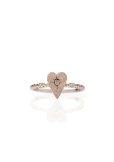 Otto jewels anello primo cuore oro e diamante grey