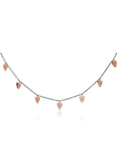 Otto Jewels collana argento oro rosa ciondoli sette cuori diamante