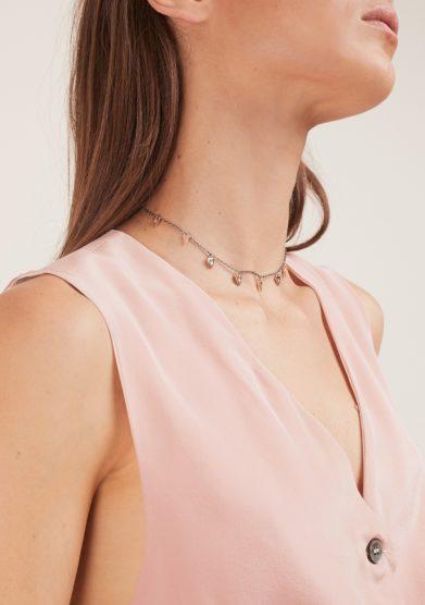collana sette cuori argento e oro con diamante otto jewels