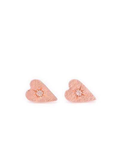 Otto Jewels orecchini cuore oro Rosa diamanti centrali grey