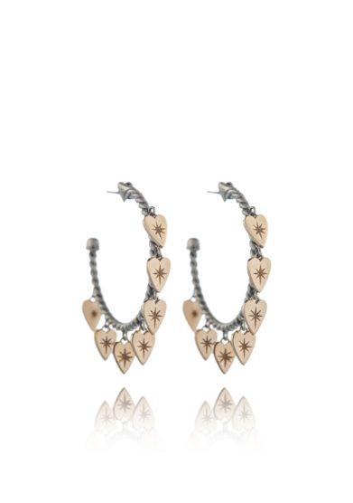 Otto jewels orecchini a cerchio sette cuori