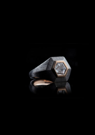 Roberto Callegari anello 110 hexagon diamante exclusive