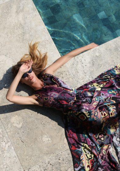 Grand Hotel Tremezzo modello Zilea abito lungo Gown fantasia