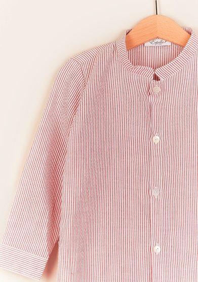Estelle milano camicia righe rosse coreana front