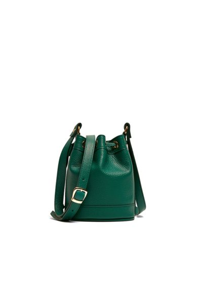 Amira Bags secchiello mini pelle martellata color verde avocado