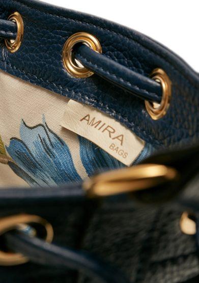 Amira bags mini secchiello colore blu scuro interno floreale cotone