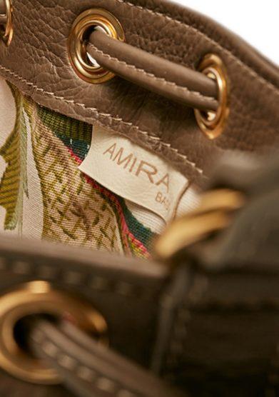 Amira Bags mini secchiello color fango pelle martellata interno cotone floreale