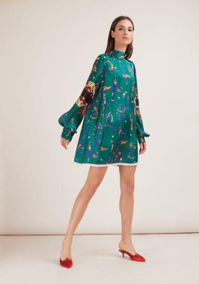 Annagiulia Firenze mini abito fantasia alfabeto armeno verde colletto