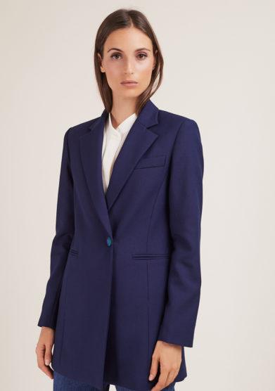Annagiulia Firenze blazer blu un petto bottone fasciato