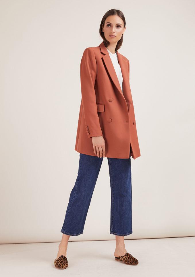 Annagiulia Firenze blazer lana color mattone full