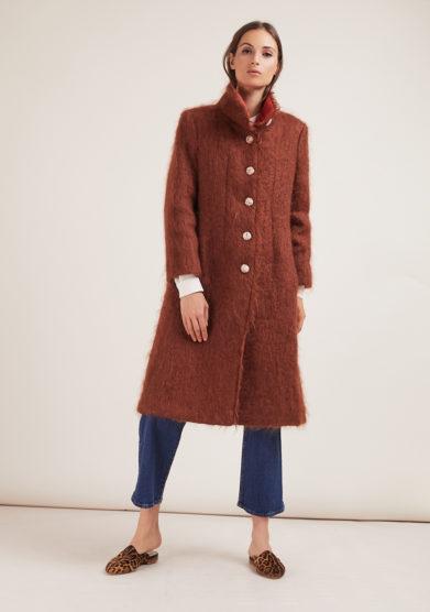 Annagiulia Firenze cappotto mohair lana bottoni fasciati pizzo