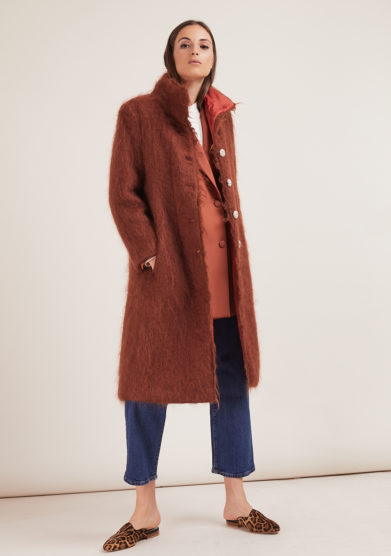 Annagiulia Firenze cappotto marrone bottoni pizzo mohair lana