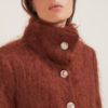 Annagiulia Firenze cappotto lana mohair marrone bottoni pizzo collo alto