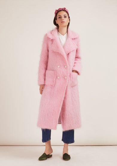 Annagiulia Firenze cappotto lana mohair rosa chiaro doppio petto