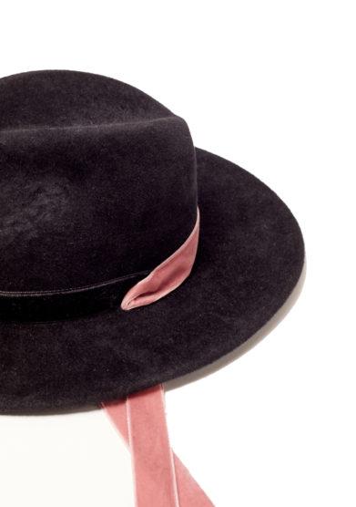 Anperfect fedora Yavanna nero nastri velluto rosa chiaro interno seta